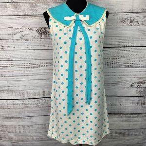 VINTAGE 60's Teal Polka Dot Linen Shift Dress SM
